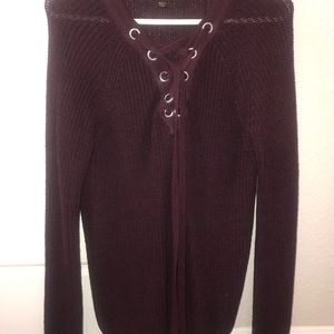 NEW Maroon red tying sweater